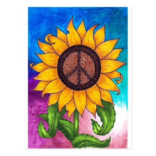 Peace Sign Sunflower Stationary Postcard