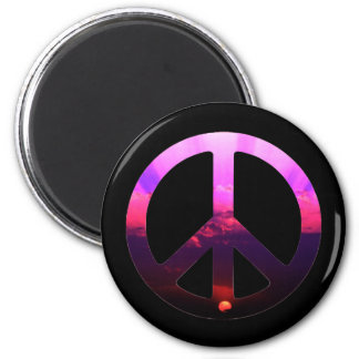 Peace Sign Sunrise 2 Inch Round Magnet
