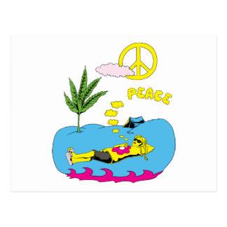 Peace Sign Symbol ~ 60s Hippie Girl Postcard