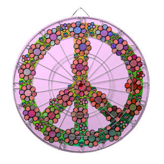 Peace Sign Symbol Flower Pretty Dartboard