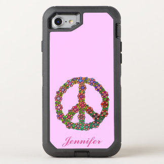 Peace Sign Symbol Flowers Floral Pretty OtterBox Defender iPhone 8/7 Case