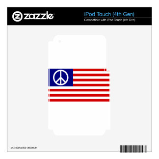Peace Sign Symbol Stars & Stripes American US Flag Decals For iPod Touch 4G