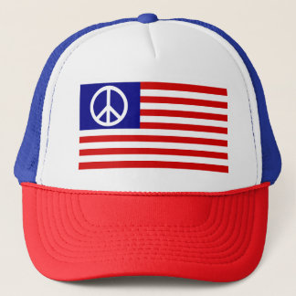 Peace Sign Symbol Stars & Stripes American US Flag Trucker Hat