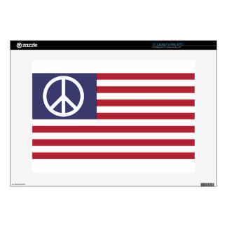 "Peace Sign Symbol US Stars & Stripes American Flag 15"" Laptop Skins"