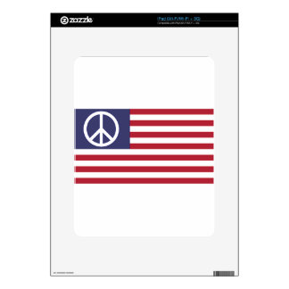 Peace Sign Symbol US Stars & Stripes American Flag Decal For iPad