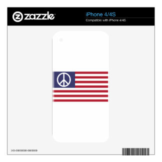 Peace Sign Symbol US Stars & Stripes American Flag iPhone 4S Decals