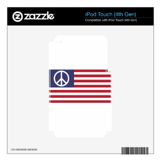 Peace Sign Symbol US Stars & Stripes American Flag iPod Touch 4G Decal