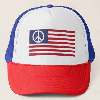 Peace Sign Symbol US Stars & Stripes American Flag Trucker Hat