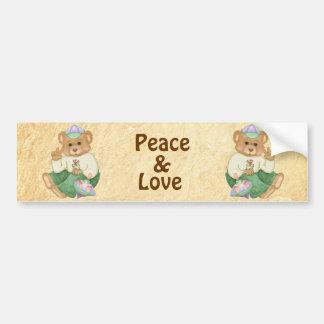 Peace Sign Teddy Bear Bumper Sticker