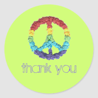 Peace sign thank you sticker