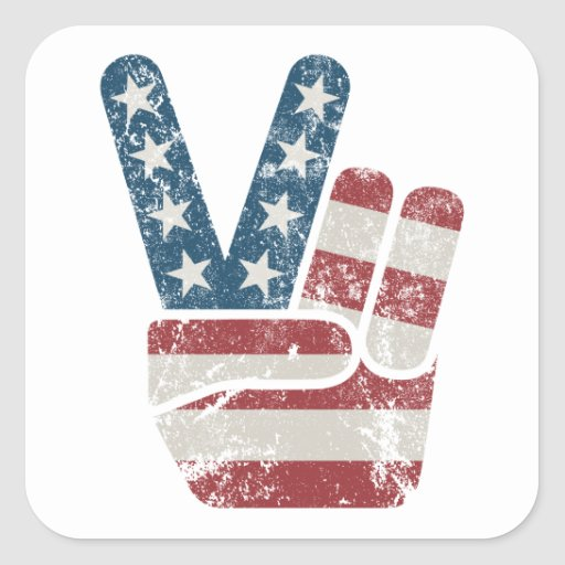 Peace Sign USA Vintage Square Stickers
