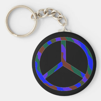 peace sign vivid color basic round button keychain