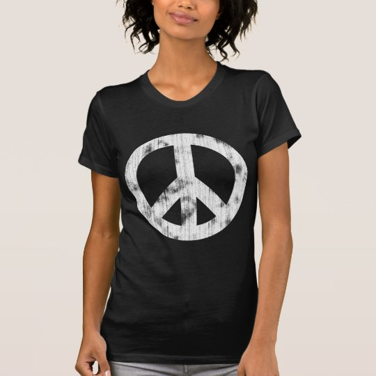 Peace Sign White Distressed T-Shirt