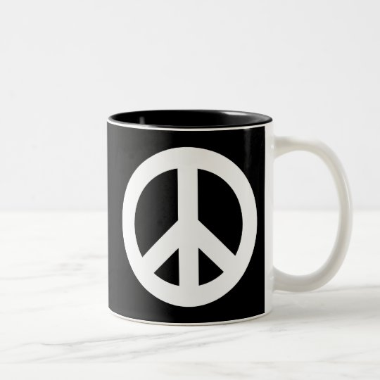 Peace Sign White Two-Tone Coffee Mug