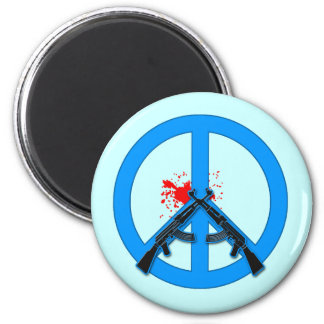 Peace Sign with AK-47s and Blood 2 Inch Round Magnet