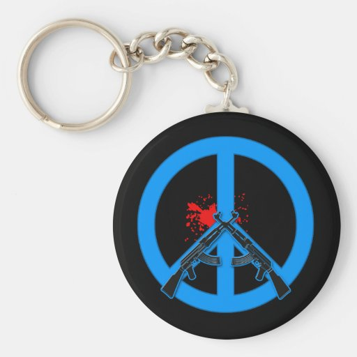 Peace Sign with AK-47s and Blood Basic Round Button Keychain