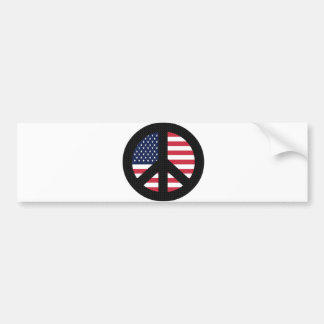 Peace Sign With American Flag Car Bumper Sticker