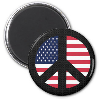 Peace Sign With American Flag Magnet