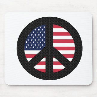 Peace Sign With American Flag Mouse Pad