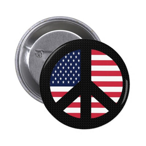Peace Sign With American Flag Pin