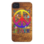 Peace Sign with Birds & Flowers Wood Backgroud iPhone 4 Cover