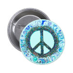 Peace Sign With Blue Waves Buttons