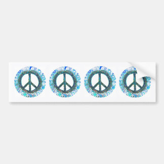 Peace Sign With Blue Waves Car Bumper Sticker