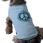 Peace Sign With Blue Waves Doggie Tee
