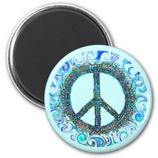 Peace Sign With Blue Waves 2 Inch Round Magnet