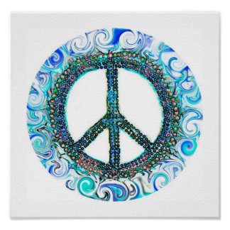 Peace Sign With Blue Waves Posters