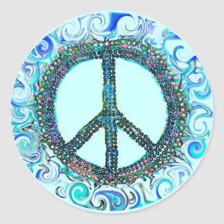 Peace Sign With Blue Waves Classic Round Sticker