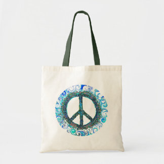 Peace Sign With Blue Waves Tote Bag