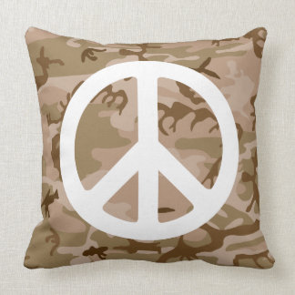 PEACE SIGN WITH BROWN CAMOUFLAGE Throw Pillow