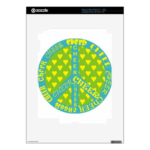 Peace Sign with Cheer in Frame Decals For iPad 2