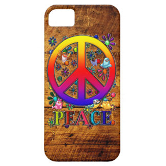Peace Sign with Flowers & Birds Faux Wood Backgrou iPhone SE/5/5s Case
