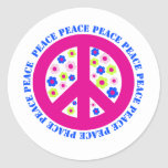 peace sign with flowers classic round sticker