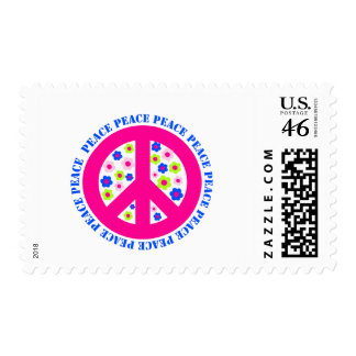 peace sign with flowers stamp