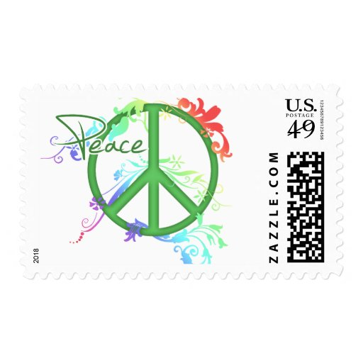 Peace sign with Flowers Postage