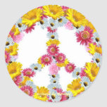 Peace Sign with flowers Round Stickers