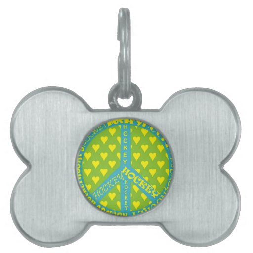 Peace Sign with Hockey in Frame Pet Name Tags