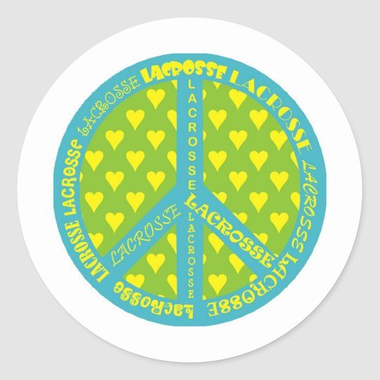 Peace Sign with Lacrosse in Frame Classic Round Sticker