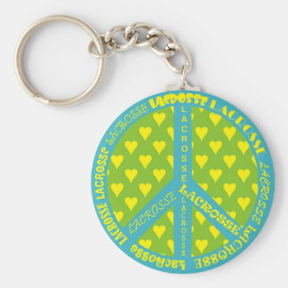 Peace Sign with Lacrosse in Frame Keychain