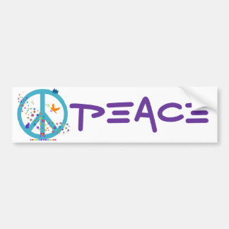Peace Sign with Rainbow Colors Bumper Sticker