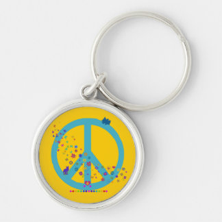 Peace Sign with Rainbow Colors Keychain