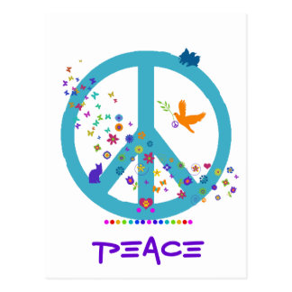 Peace Sign with Rainbow Colors Post Card