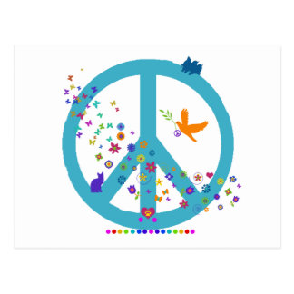 Peace Sign with Rainbow Colors Post Cards