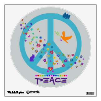 Peace Sign with Rainbow Colors Room Decals