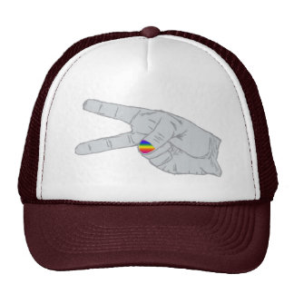 Peace Sign With Rainbow Nail Trucker Hat