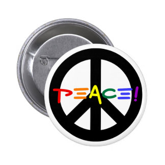 Peace Sign with Rainbow Pinback Button