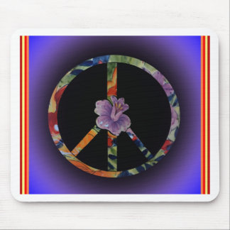 Peace Sign with Rose Mouse Pad
